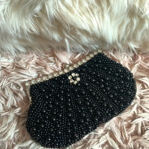 Faux Pearl Cascading Beaded Evening Clutch